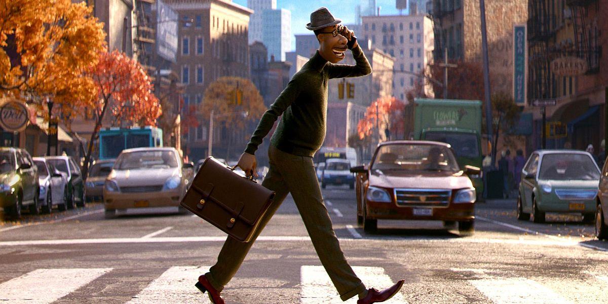 Joe walking across the street in Pixar's Soul