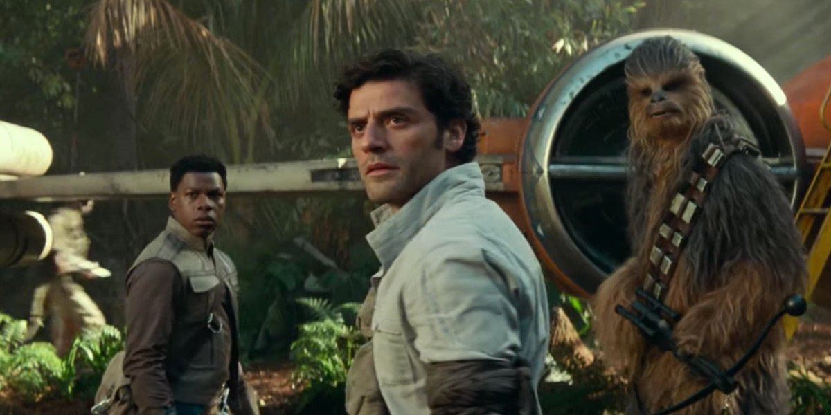 Finn, Poe, and Chewie in The Rise of Skywalker