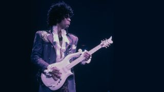 Prince performs live on the Purple Rain tour in 1984