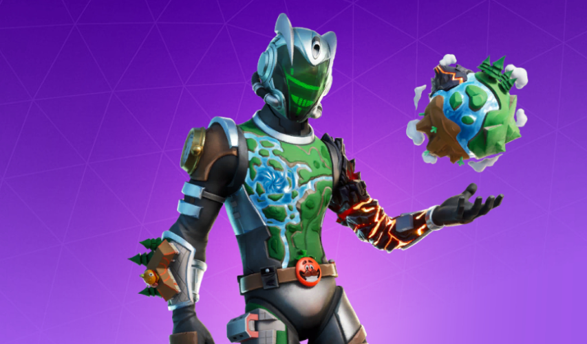 A Fortnite skin of Eco, wearing a armor and a helmet with a green visor