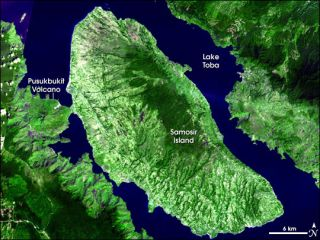Caldera left by ancient Toba supervolcano eruption