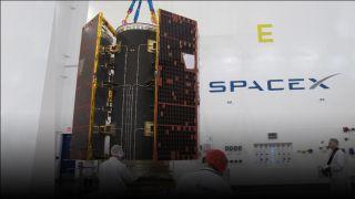 GRACE-FO satelites and dispenser