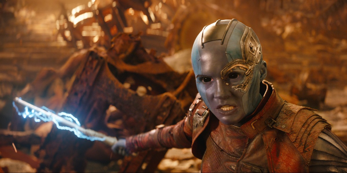 Nebula fighting against enemies in Avengers: Infinity War