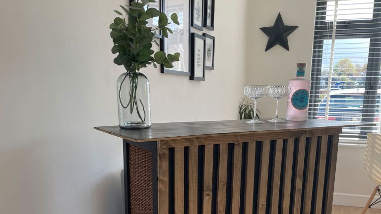 DIY bar with vase of flowers