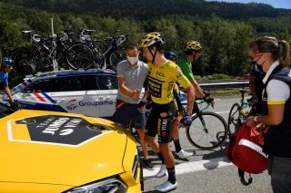 MEGEVE FRANCE AUGUST 15 Primoz Roglic of Slovenia and Team Jumbo Visma Yellow Leader Jersey Doctor Medical Crash Injury during the 72nd Criterium du Dauphine 2020 Stage 4 a 1533km stage from Ugine to Megeve 1458m dauphine Dauphin on August 15 2020 in Megeve France Photo by Justin SetterfieldGetty Images