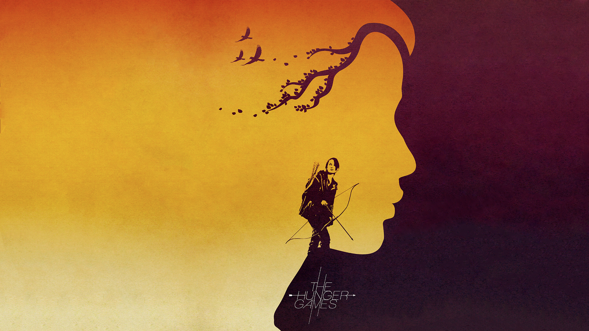 Negative space silhouette of the face of Katniss from the Hunger Games in profile, with a full body silhouette in front