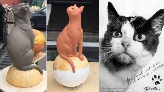 Félicette, the first cat in space (seen here at right), will soon be immortalized as a bronze sculpture at the International Space University in Strasbourg. On the left here is one of the first photos of the artwork in progress, and at the center is a small scale model.