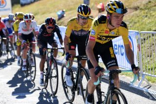 ORCIERES FRANCE SEPTEMBER 01 Sepp Kuss of The United States and Team Jumbo Visma Primoz Roglic of Slovenia and Team Jumbo Visma Egan Arley Bernal Gomez of Colombia and Team INEOS Grenadiers Tadej Pogacar of Slovenia and UAE Team Emirates Julian Alaphilippe of France and Team Deceuninck QuickStep Yellow Leader Jersey Peloton during the 107th Tour de France 2020 Stage 4 a 1605km stage from Sisteron to OrcieresMerlette 1825m TDF2020 LeTour on September 01 2020 in Orcieres France Photo by Tim de WaeleGetty Images