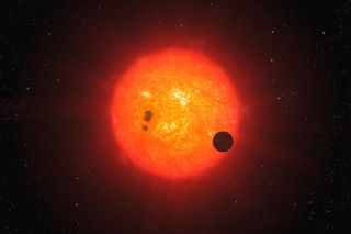 Exoplanet Transiting Red Dwarf