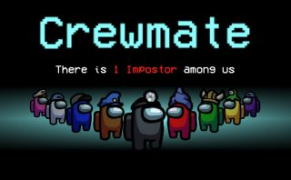 A still of nine Among Us players under a banner reading 'Crewmate: There is 1 Impostor among us.'