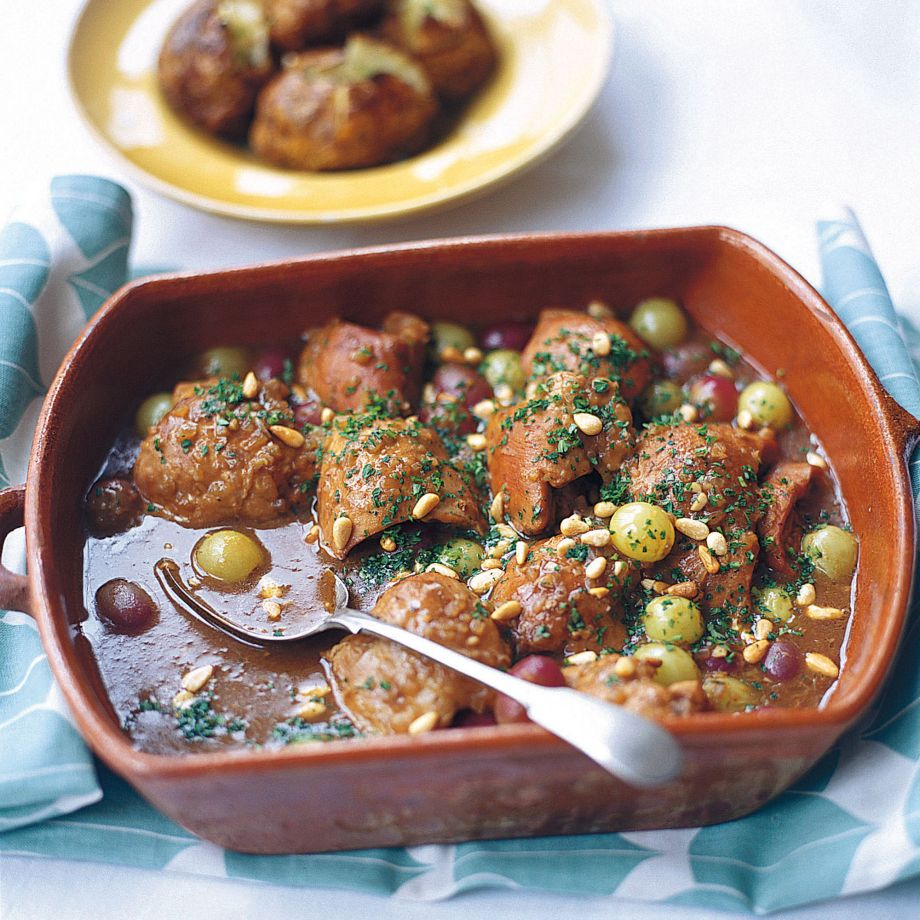 Chicken Braised with Sherry Vinegar and Grapes Recipe