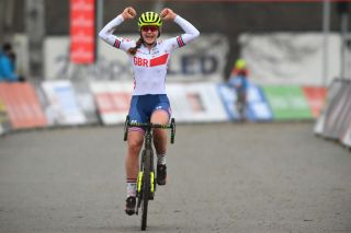 British Zoe Backstedt celebrates as she crosses the finish line to win the junior womens race at the cyclocross cycling event in Tabor Czech Republic the first stage of the World Cup cyclocross competition Sunday 29 November 2020 BELGA PHOTO DAVID STOCKMAN Photo by DAVID STOCKMANBELGA MAGAFP via Getty Images
