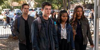 Brandon Flynn, Dylan Minnette, Grace Saif and Alisha Boe in 13 Reasons Why Season 4