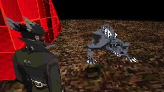 A PS1-style deconstruction of a Bloodborne Hunter staring down a very bad dog