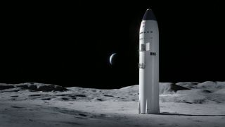 An illustration of SpaceX's Starship on the moon. In April 2021, NASA announced that SpaceX won the contract to build the lunar lander for its Artemis program.