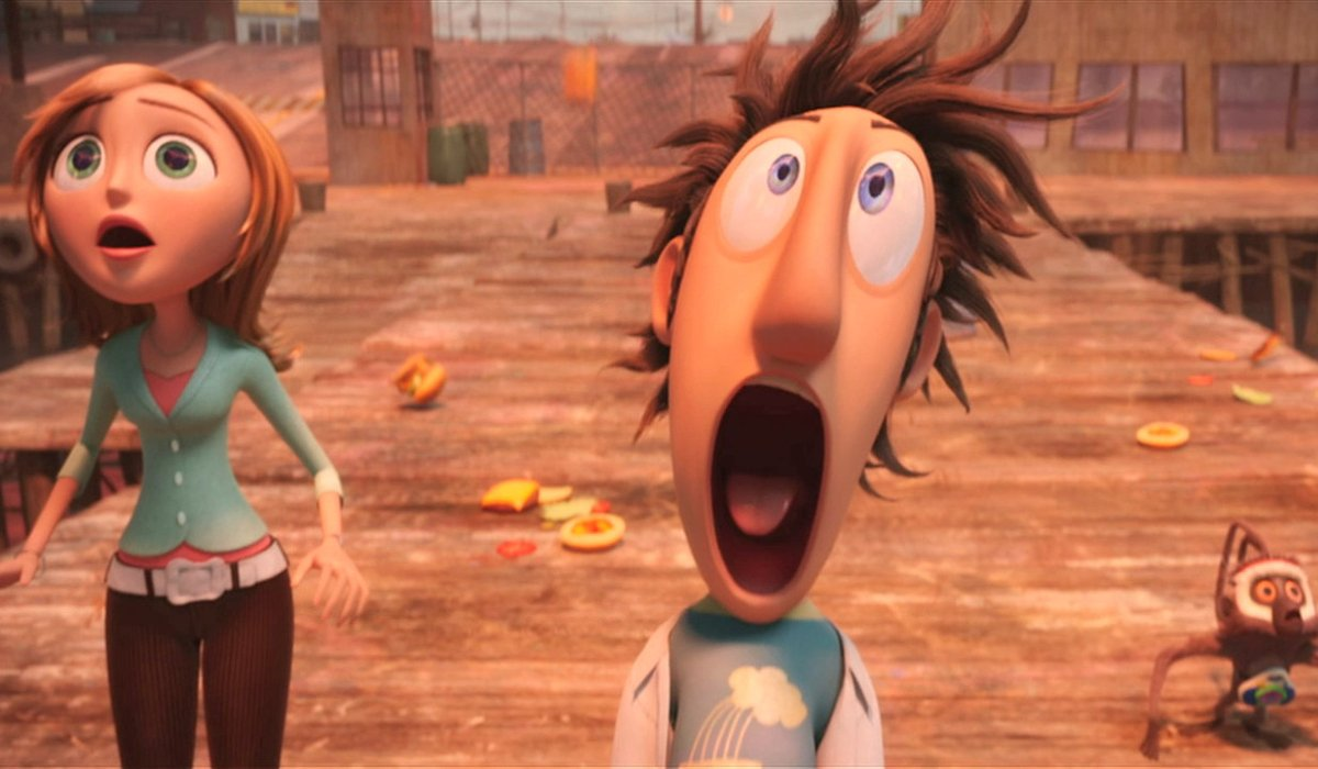 Cloudy with a Chance of Meatballs Sam and Flint looking shocked on the pier