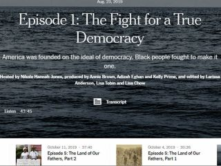 Screenshot from the 1619 Project Podcast: Episode 1: The Fight for a True Democracy