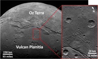 Craters on the Pluto moon Charon's Vulcan Planitia, as seen by NASA's New Horizons spacecraft in July 2015.