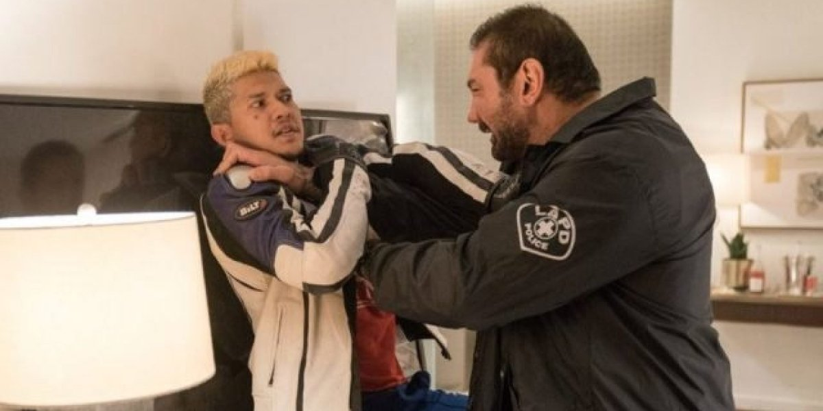 Iko Uwais and Dave Bautista in Stuber