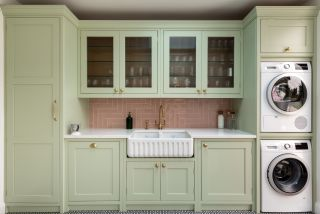 pink and green utility room design
