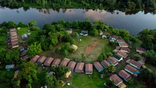 The coronavirus is ravaging indigenous communities in the Brazilian Amazon. (Pictured here is a Laranjal tribal camp along the Iriri river in the Arara indigenous land.)