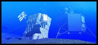 NASA's NEEMO 15 expedition will simulate aspects of a mission to an asteroid. In this illustration, a configured rock wall can be seen near the underwater Aquarius laboratory.