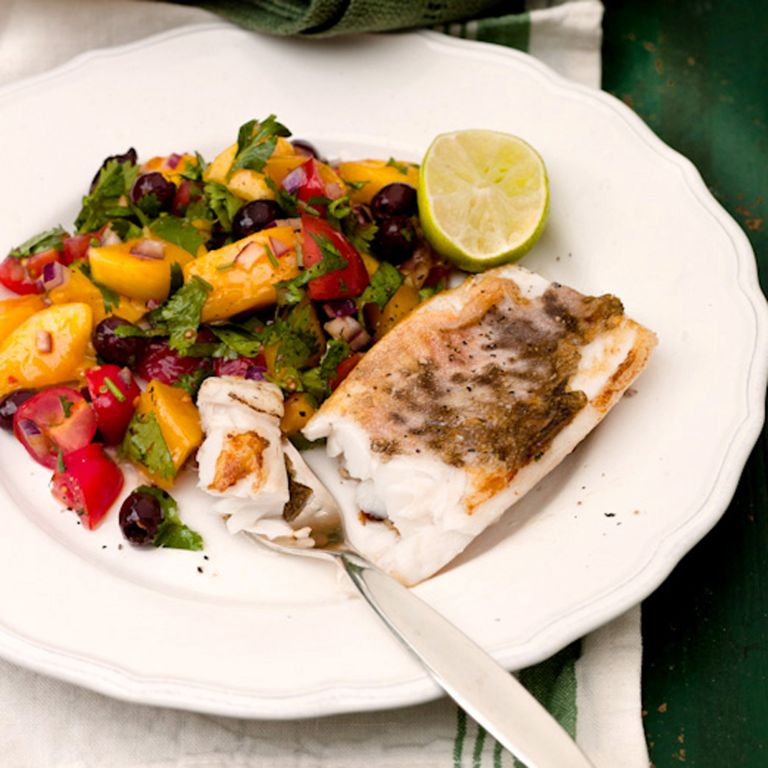 White Fish with Mango, Black Olive and Tomato Salsa recipe-new recipes-woman and home