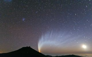 Comet McNaught Setting Behind Mount Paranal
