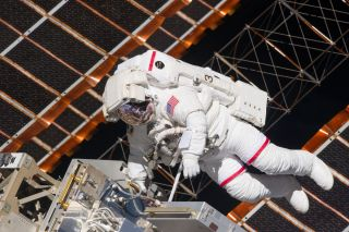 NASA astronaut Andrew Feustel, STS-134 mission specialist, participates in the mission's firstspacewalk on May 20, 2011 as construction and maintenance continue on the International Space Station.