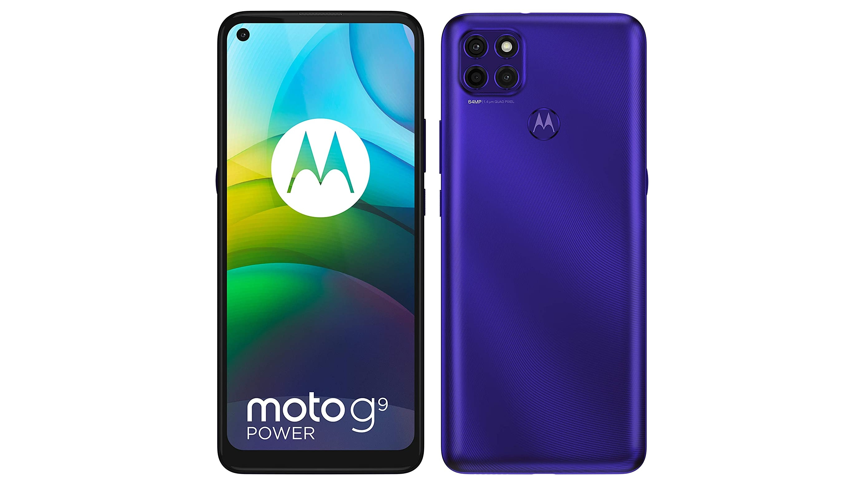 A Moto G9 Power against a white background