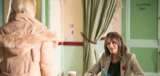 Geraldine Clough takes offence to Kathy Sullivan's remarks about her talent show and kicks her out in EastEnders.