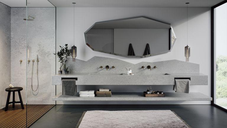 Bathroom backsplash ideas with grey concrete-effect quartz backsplash with jagged edge pattern