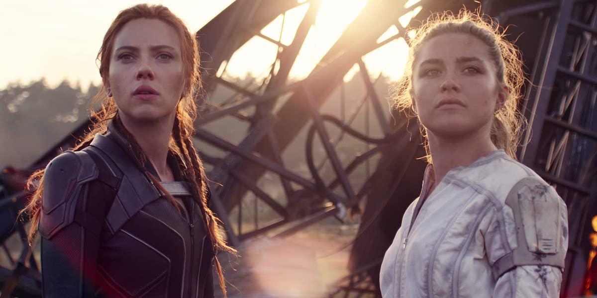 Scarlett Johansson and Florence Pugh as Natasha Romanoff and Yelena Belova