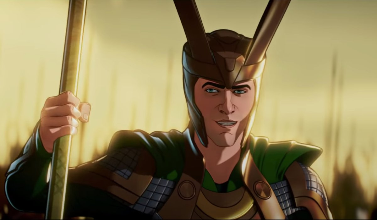 Loki smiles as he wields his staff on the battlefield in Marvel's What If...?