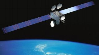 Artist's illustration of Intelsat's IS-29E satellite in orbit.