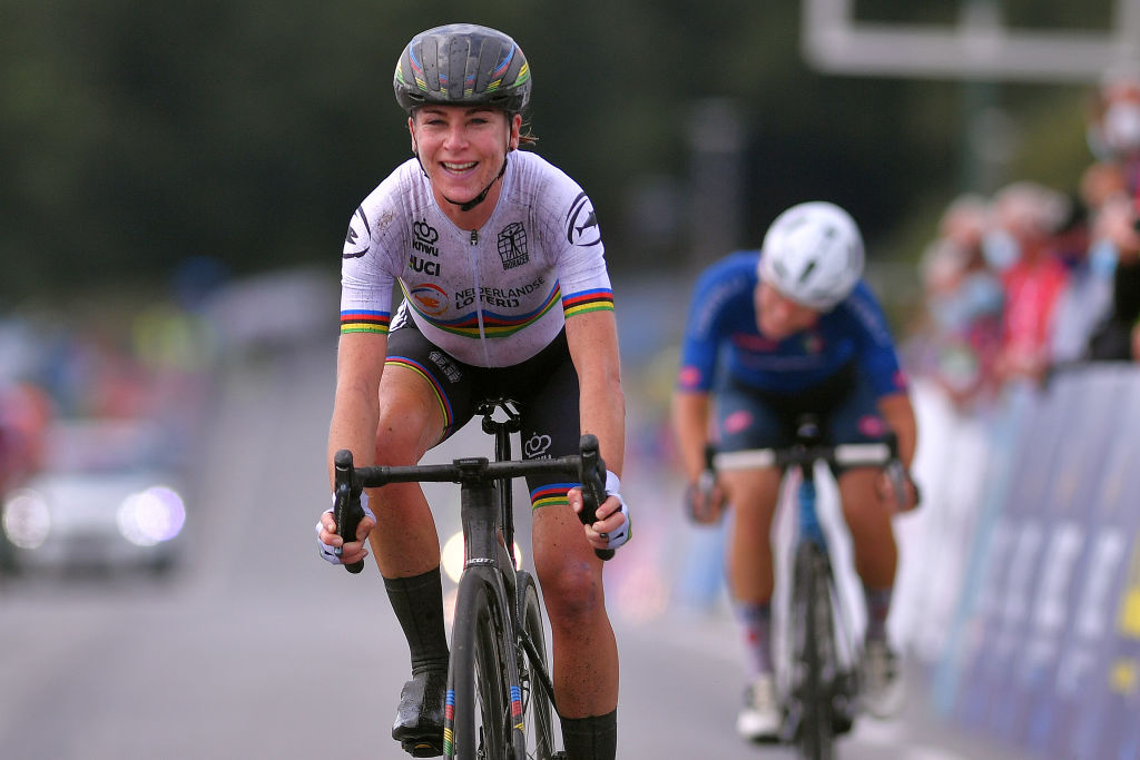 PLOUAY FRANCE AUGUST 27 Arrival Annemiek Van Vleuten of The Netherlands Celebration Elisa Longo Borghini of Italy during the 26th UEC Road European Championships 2020 Womens Elite Road Race a 1092km race from Plouay to Plouay GrandPrixPlouay GPPlouay on August 27 2020 in Plouay France Photo by Luc ClaessenGetty Images