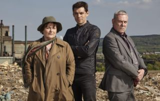 Vera: Pictured: BRENDA BLETHYN as DCI Vera Stanhope, KENNY DOUGHTY as DS Aiden Healy and JON MORRIS as DC Kenny Lockhart.