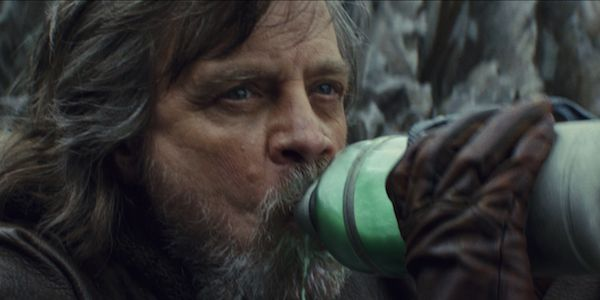 Luke Skywalker drinking green milk in Star Wars; The Last Jedi