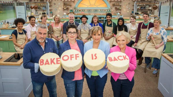Paul Hollywood, Mel and Sue and Mary Berry with the 2015 Great British Bake Off contetants