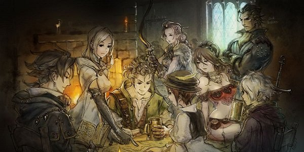The Octopath Travelers gather around a table.