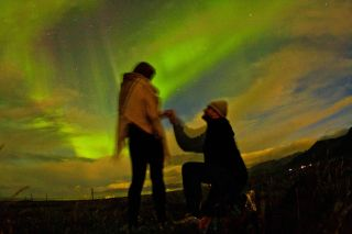 Alex Rivest proposes to his girlfriend in September 2012 under Icelandic auroras.