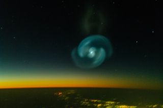 Blue spiral in the starry sky
