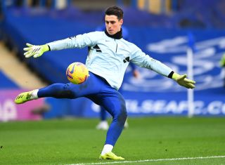 Chelsea's Kepa Arrizabalaga warms up before their Premier League match against Burnley