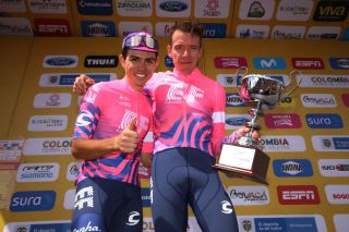 EL ONCE ALTO VERJN COLOMBIA FEBRUARY 16 Podium Sergio Andres Higuita Garcia of Colombia and Team EF Pro Cycling Rigoberto Urn of Colombia and Team EF Pro Cycling Celebration Trophy during the 3rd Tour of Colombia 2020 Stage 6 a 1826km stage from Zipaquir to El Once Alto Verjn 3290m TourColombiaUCI TourColombia2020 on February 16 2020 in El Once Alto Verjn Colombia Photo by Maximiliano BlancoGetty Images