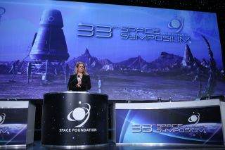 Gwynne Shotwell, president and chief operating officer of SpaceX, spoke at the 33rd annual Space Symposium on April 5, 2017.