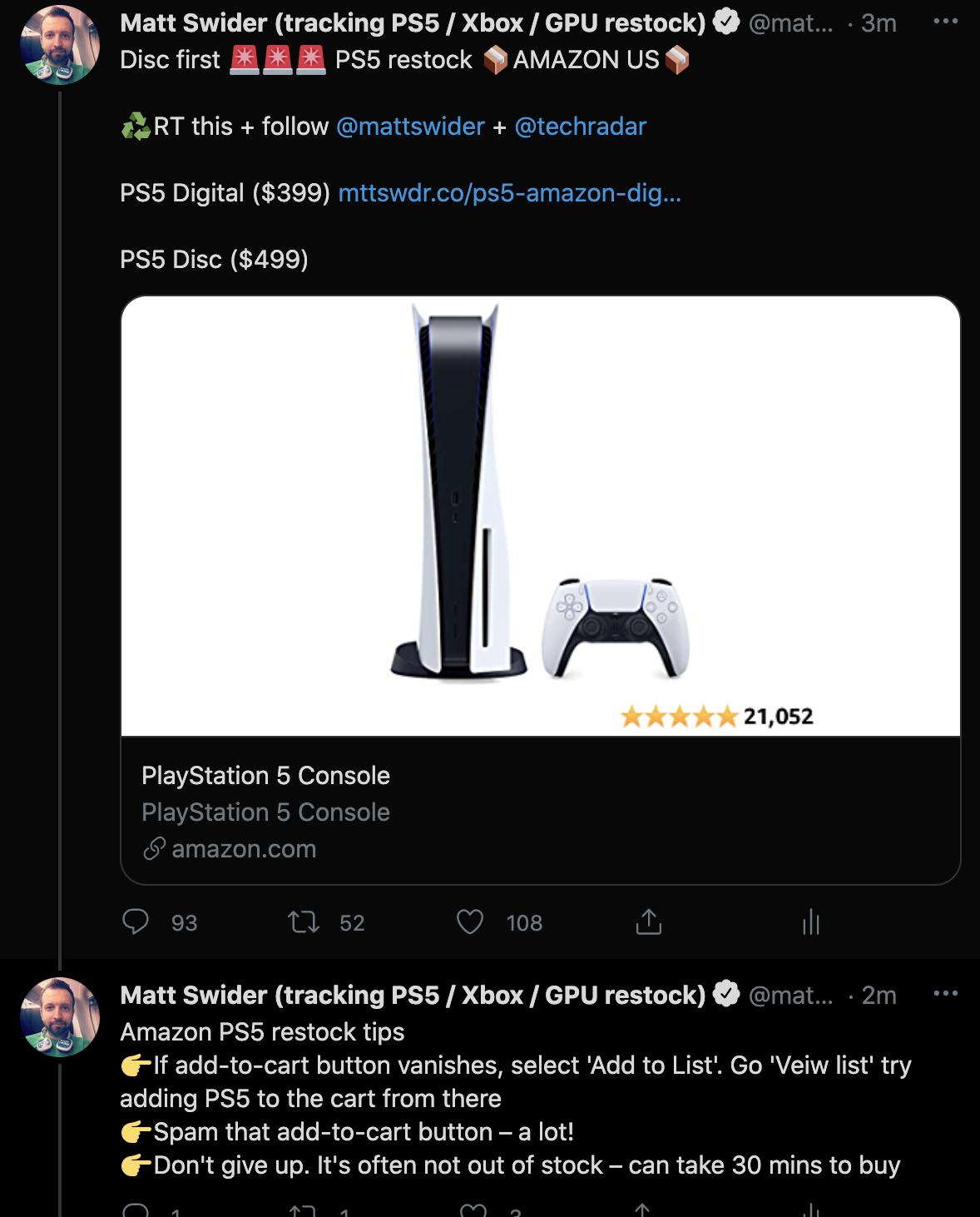 PS5 restock Twitter tracker alert for Amazon