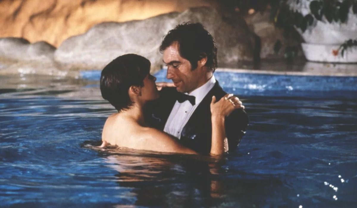 License To Kill Bond and Pam embrace in the pool