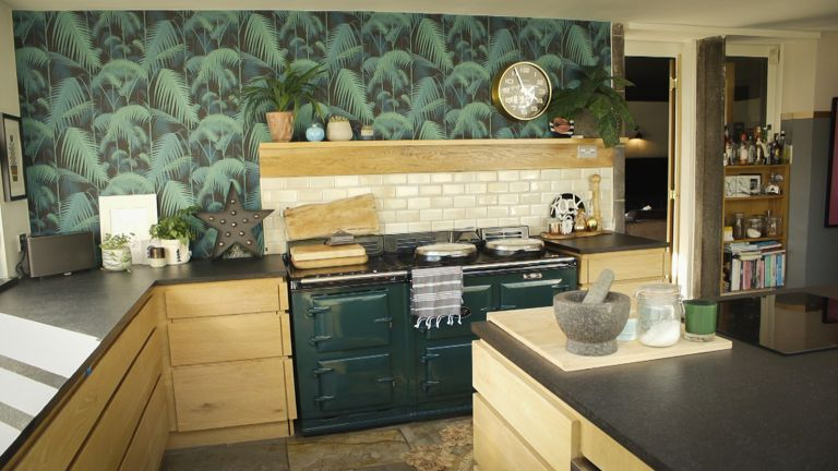 palm pattern wallpaper in a modern kitchen