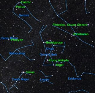 A view of the winter night sky showing where the constellation Orion will be visible.