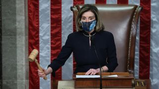 Speaker of the House Nancy Pelosi (D-CA) raps her gavel after the House voted to impeach U.S. President Donald Trump for the second time in little over a year in the House Chamber of the U.S. Capitol Jan. 13, 2021 in Washington, DC.